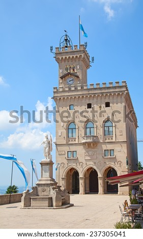 Ancient fortifications of the San Marino - stock photo
