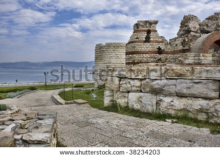 Ancient fortress in Nessebar, Bulgaria - stock photo