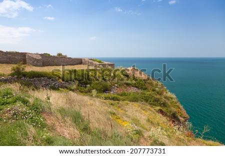 Ancient fortress on Kaliakra headland, Bulgarian Black Sea Coast - stock photo