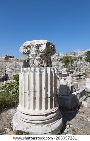 Ancient fragment at Nerantzia castle of Kos island in Greece - stock photo