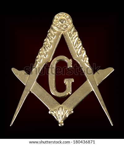 ancient freemasonry golden medal  square & compass - stock photo