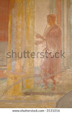 Ancient Fresco from the walls of the Pompeii, Italy ruins. - stock photo