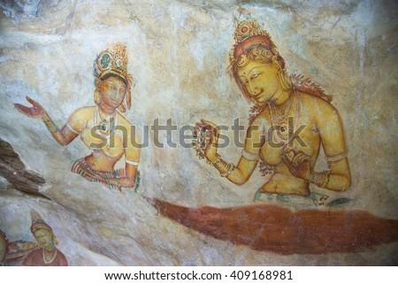 Ancient fresco in the cave temple, Sigiriya, Sri Lanka, Asia - UNESCO World Heritage Site - stock photo