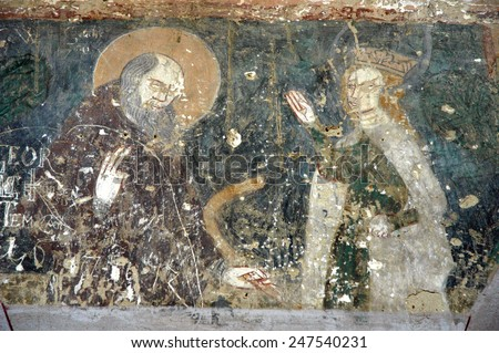 Ancient fresco, murals in Malancrav (Almakerek) church. Transylvania, Romania - stock photo