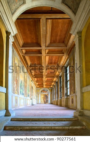 Ancient gallery in german Duke of Landshut Residence near Munich, the first renaissance palace outside of Italy - stock photo
