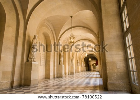 Ancient gallery with sculptures in the Versailles plance, Paris France. - stock photo