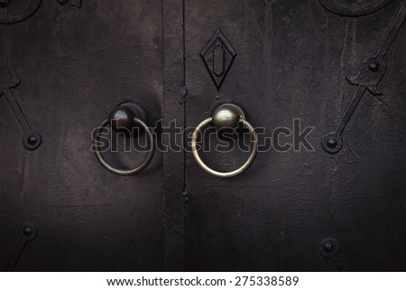 ancient gate at the entrance to the Church of St. Olga and Elizabeth, Lviv. Ukraine - stock photo