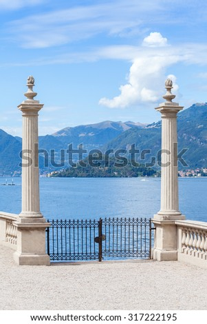 Ancient gate in in the garden terrace of Villa Melzi ,  - stock photo