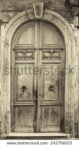 Ancient gateway to housing - stock photo