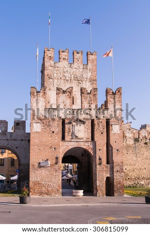 Ancient gateway to Soave, fortified city in the province of Verona, famous for the eponymous white wine. - stock photo