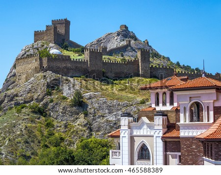 Ancient Genoese fortress in the city of Sudak, Crimea, Russia