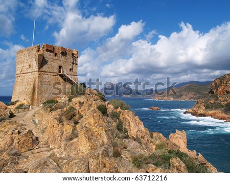 Ancient Genuese tower at Corsica beach, Calanches, Porto, Korsika, France - stock photo