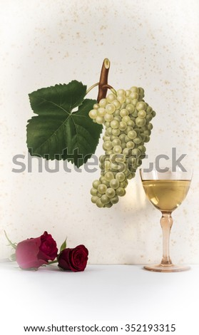 ancient glass of white wine background grape cluster decorated, romantic moment with flowers rose , photo with vignetting,natural light, vertical photo - stock photo