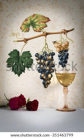 Ancient glass of white  wine background grape cluster decorated, romantic moment with red rose ,photo with vignetting, natural light, vertical photo - stock photo