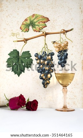 Ancient glass of white  wine background grape cluster decorated, romantic moment with red rose , natural light, vertical photo - stock photo