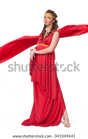 Ancient godness in a red greece toga isolated on a white background - stock photo