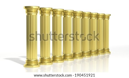 Ancient gold pillars in a row isolated on white  - stock photo