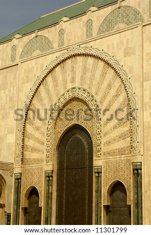 ancient golden arabic building detail in Morocco - stock photo