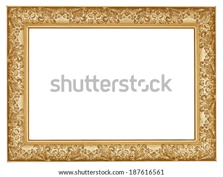 ancient golden carved wide wooden picture frame with cut out canvas isolated on white background - stock photo