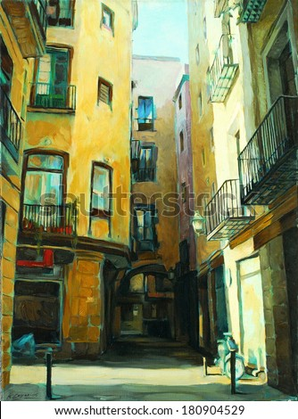 ancient gothic quarter of barcelona, painting, illustration - stock photo
