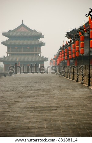 Ancient Great Wall of China, near Xian, showing Gate Houses - stock photo