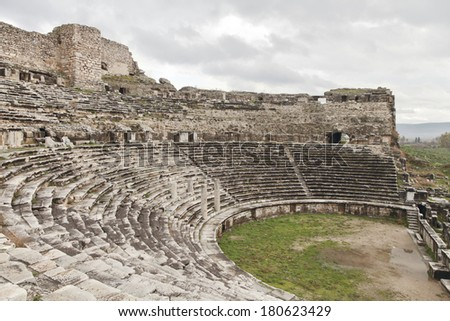 Ancient greek amphitheater in Turkey, abstract architecture