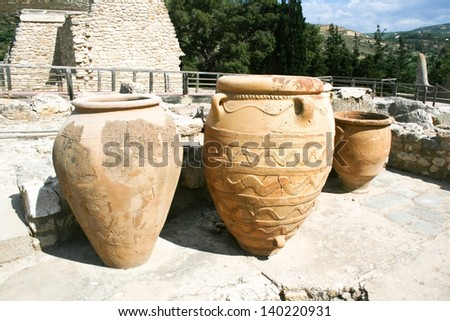 Ancient Greek amphora in the Knossos palace. Crete, Greece - stock photo