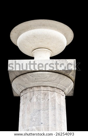 Ancient Greek classic era pillar with a crater standing upon it