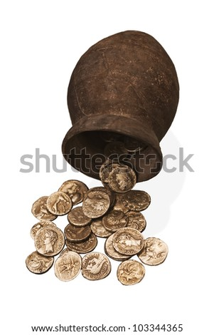 Ancient greek coins found in the ruins of Ampurias, Spain. Isolate don white. - stock photo