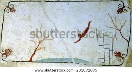 Ancient Greek Fresco in Paestum, Italy. - stock photo