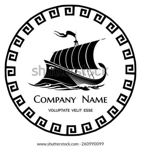 Ancient Greek Galley logo icon for company or firm - stock photo