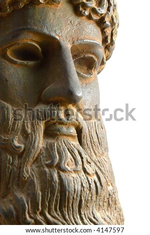 Ancient Greek god in alternative perspective view. A reproduction of an ancient Greek bronze Poseidon statue that dates to approximately 460 BC. Isolated on white. - stock photo