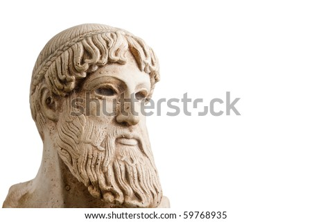 Ancient Greek god Poseidon - god of the sea, horses, and earthquakes. Plenty of room for copy to the right. - stock photo