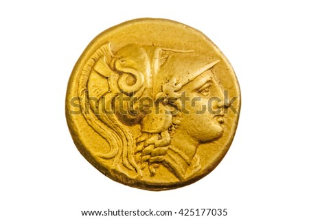 Ancient Greek gold coin, Alexander the Great, 3rd century BC, in white background