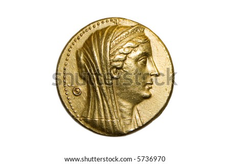Ancient greek gold coin ca 300 bc isolated on white - stock photo