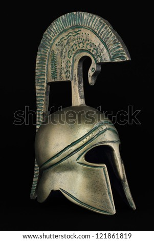 Ancient greek helmet replica - stock photo