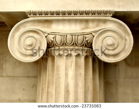 Ancient Greek ionic capital - stock photo