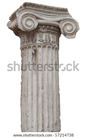 Ancient greek ionic column isolated on white with clipping path - stock photo