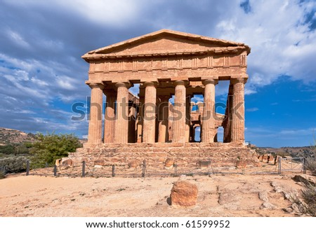 Ancient Greek Temple of Concord, Agrigento, Sicily - stock photo