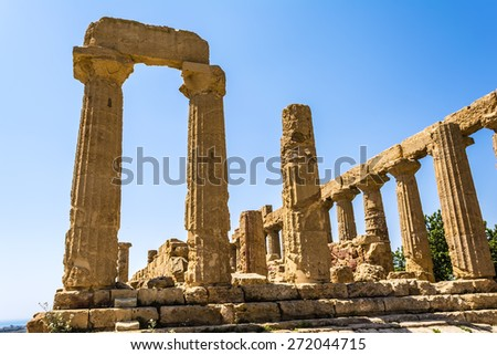 Ancient greek Temple of Juno Hera God, Agrigento, valley of temples, Sicily, Italy