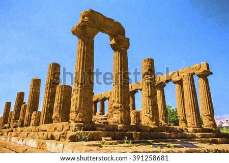 Ancient greek Temple of Juno Hera God, Agrigento, valley of temples, Sicily, Italy - Painting effect