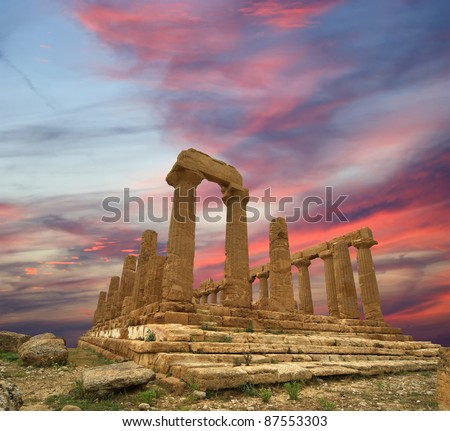Ancient Greek Temple of Juno (V-VI century BC), Valley of the Temples, Agrigento, Sicily. The area was included in the UNESCO Heritage Site list in 1997 - stock photo