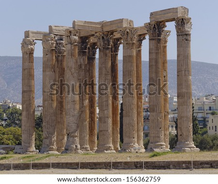 ancient Greek temple of Olympian Zeus, Athens - stock photo