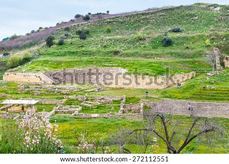 ancient greek theater and agora in Morgantina archaeological site, Sicily, Italy - stock photo