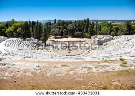 ancient greek theater in Syracuse, Parco Archeologico della Neapolis, Sicily, Italy, Unesco world heritage list - stock photo