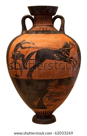 Ancient greek vase depicting a chariot  isolated on white with clipping path - stock photo