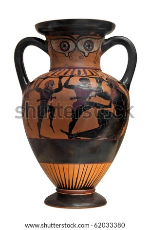 Ancient greek vase depicting Ulysses fighting the cyclop  isolated on white with clipping path - stock photo