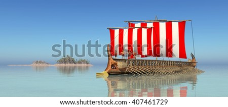 Ancient Greek Warship Computer generated 3D illustration