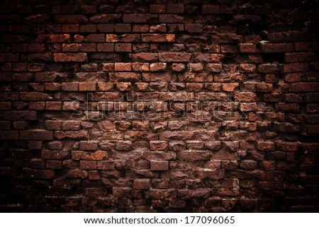 ancient grunge brick wall background  - stock photo