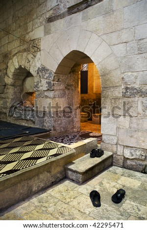 Ancient hamman entrance in the old city of Aleppo
